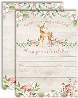 Little Deer Woodland Birthday Party Invitations for Girls 20 5