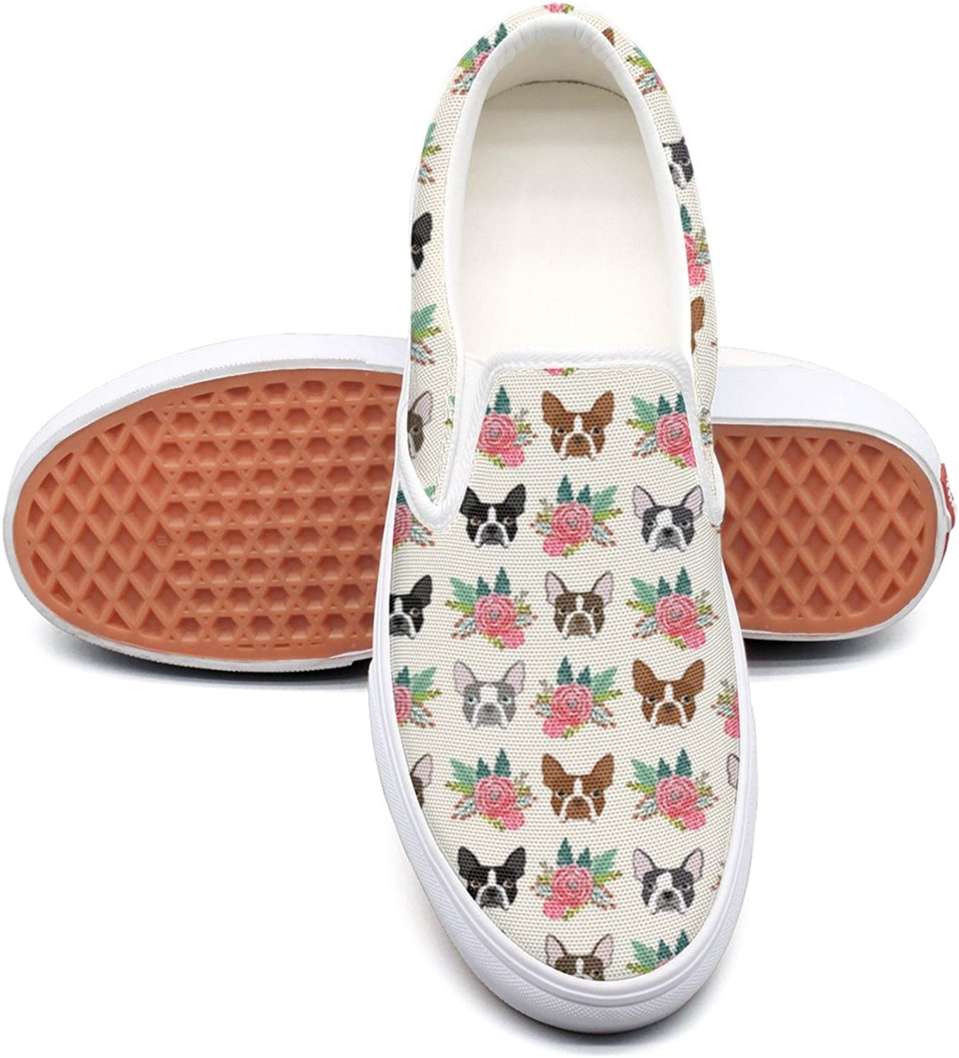 Hjkggd fgfds Casual Boston Terrier Vintage Flowers Women Girls Canvas shoes