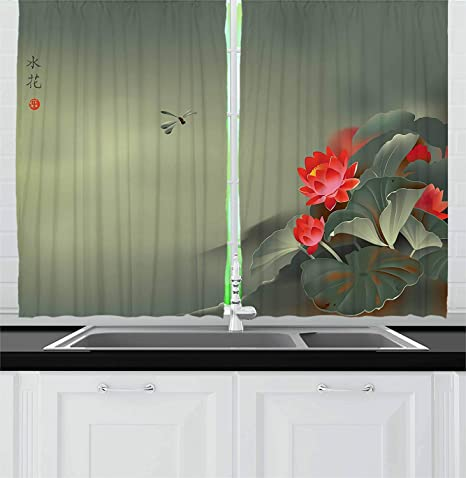 Zoe Store Dragonfly Kitchen Curtains 104x84in Traditional Japanese Painting With Lotus Blooms In Hazy Tones Asian Design Window Drapes 2 Panel Set For Kitchen Cafe Home Kitchen