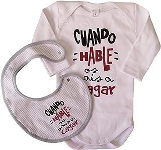 Pack Body Y Babero BEBÉ Frase Cuando HABLE OS VAIS A CAGAR Regalo Ideal para RECIÉN Nacidos Y PAPÁS. Body para BEBÉ