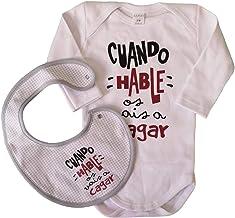 MISORPRESA Pack Body Y Babero BEBÉ Frase Cuando HABLE OS VAIS A CAGAR Regalo Ideal para RECIÉN Nacidos Y PAPÁS. Body para BEBÉ