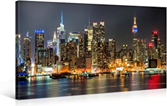 Manhattan City Wall Art for Home Decor Night Lights Painting The Picture Print On Canvas New York City Cityscape For Living Room Home Decor 40 x 20 Inch Hanging Wall Deco Picture(colorful, 40x20inch)