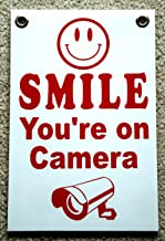 Peter Select Smile You're ON Camera Sign 8''x12'' New with Grommets Security Surveillance Funny Retro Vintage Business Nostalgic Signs
