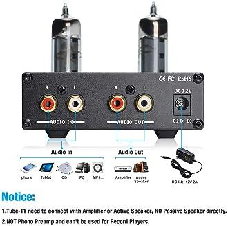 SUCA-AUDIO Tube-T1 Preamplifier, Vacuum Tube Amplifier Buffer Mini Hi-Fi Stereo Preamp with Treble & Bass Tone Contro...