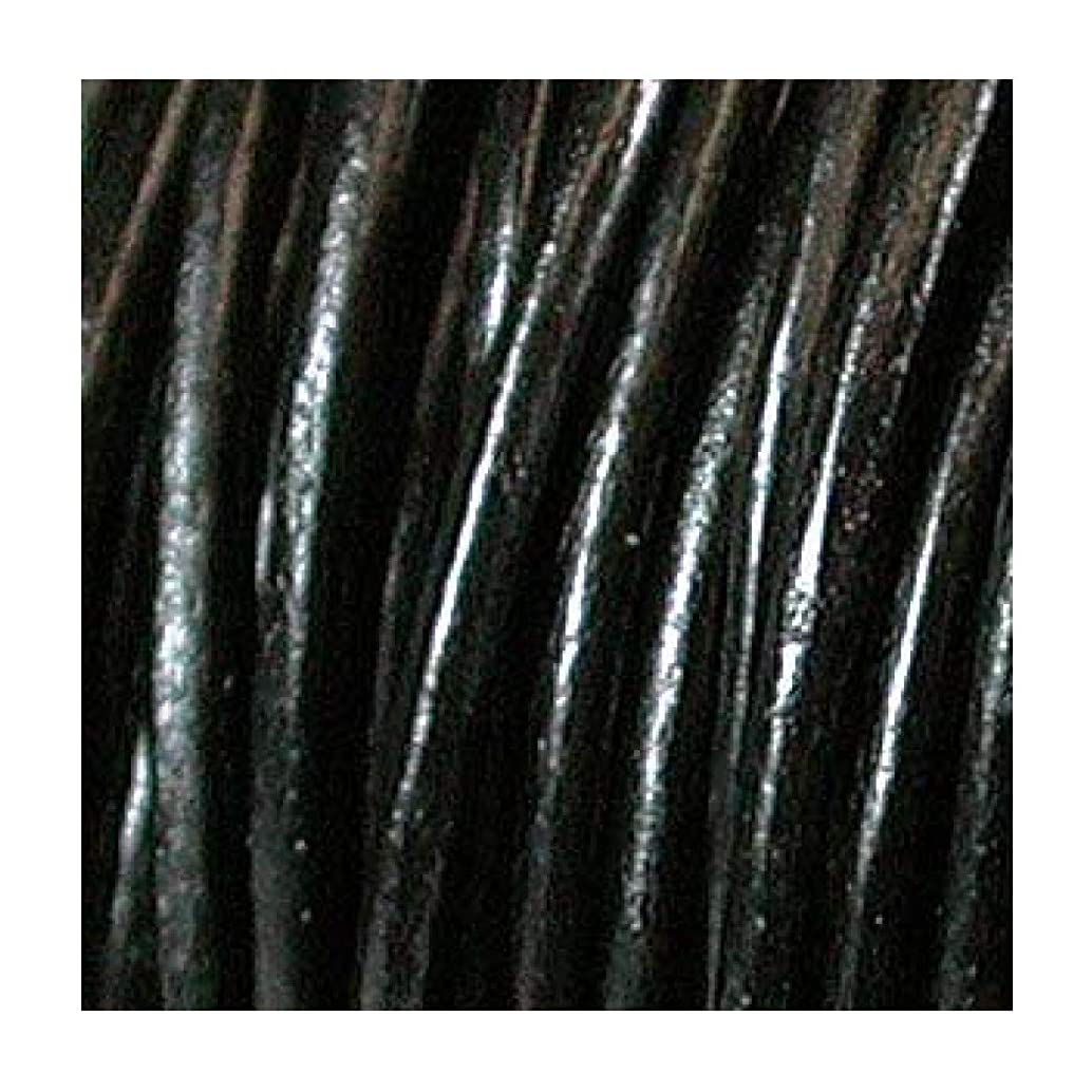 3mm Indian Leather Round Beading Jewelry and Craft Cord 25 Yards Black- 3mm Thick