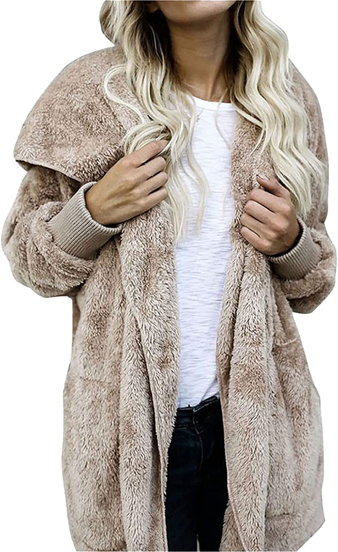 Plus Size Tops for Women Fashion Hood Draped Pockets Cardigan Outwear Ladies Grey Plush Oversized Long Sleeve Open Front Coat