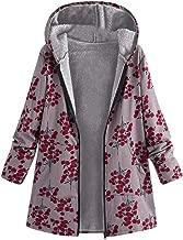 Aniywn Winter Warm Coats Women Plus Size Floral Print Hooded Zipper Jacket Vintage Outwear with Pocket