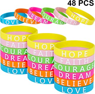 Jovitec 48 Pieces Motivational Wristbands Silicone Inspirational Bracelets Saying Rubber Bands for Men and Women