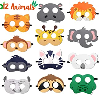 CiyvoLyeen Safari Jungle Animal Felt Masks Wild Animal Theme Birthday Party Favors Kids Costumes Dress-Up Party Supplies(1...