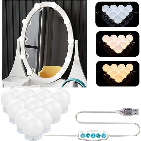 Aourow Luces de Espejo Maquillaje,Diseño de Cable USB Luz de Tocador LED con Interruptor y 10 Bombillas Regulables,5 Modos de Color y 6 Brillo (Sin Espejo y Cargador USB)