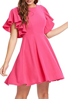 b2a26e4055497 Romwe Women s Stretchy A Line Swing Flared Skater Cocktail Party Dress
