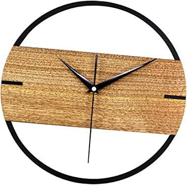 Flameer Fashion 30cm Wood Quiet Non Ticking Wall Clock