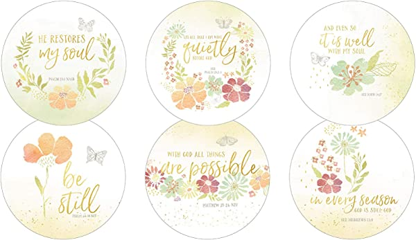 Legacy Publishing Group RCC52806 Amylee Weeks Round Cork Backed Coaster Set 6 Count Restore My Soul