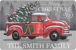 Gxiliru Merry Christmas Personalized Metal/Wood Sign Home Living Room Entryway Porch Christmas Tree Customizable Decorative Hangings Indoor and Outdoor Door Wall Hangings Welcome Sign