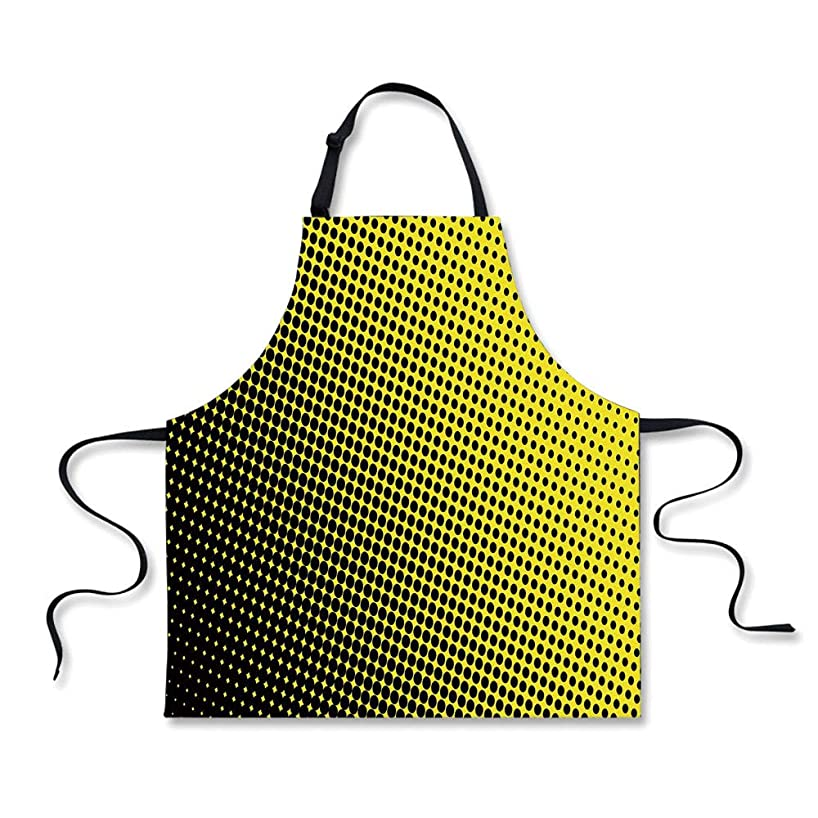 iPrint Custom Apron,Yellow Decor,Ombre Themed Yellow Background with Black Dots from Big to Small Artwork,Yellow and Black,Home Apron.29.5