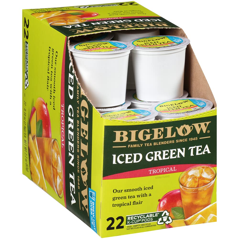 Bigelow Tropical Don't miss the campaign Our shop OFFers the best service Iced Green Tea K Cups Count Box Pack 22 1 of