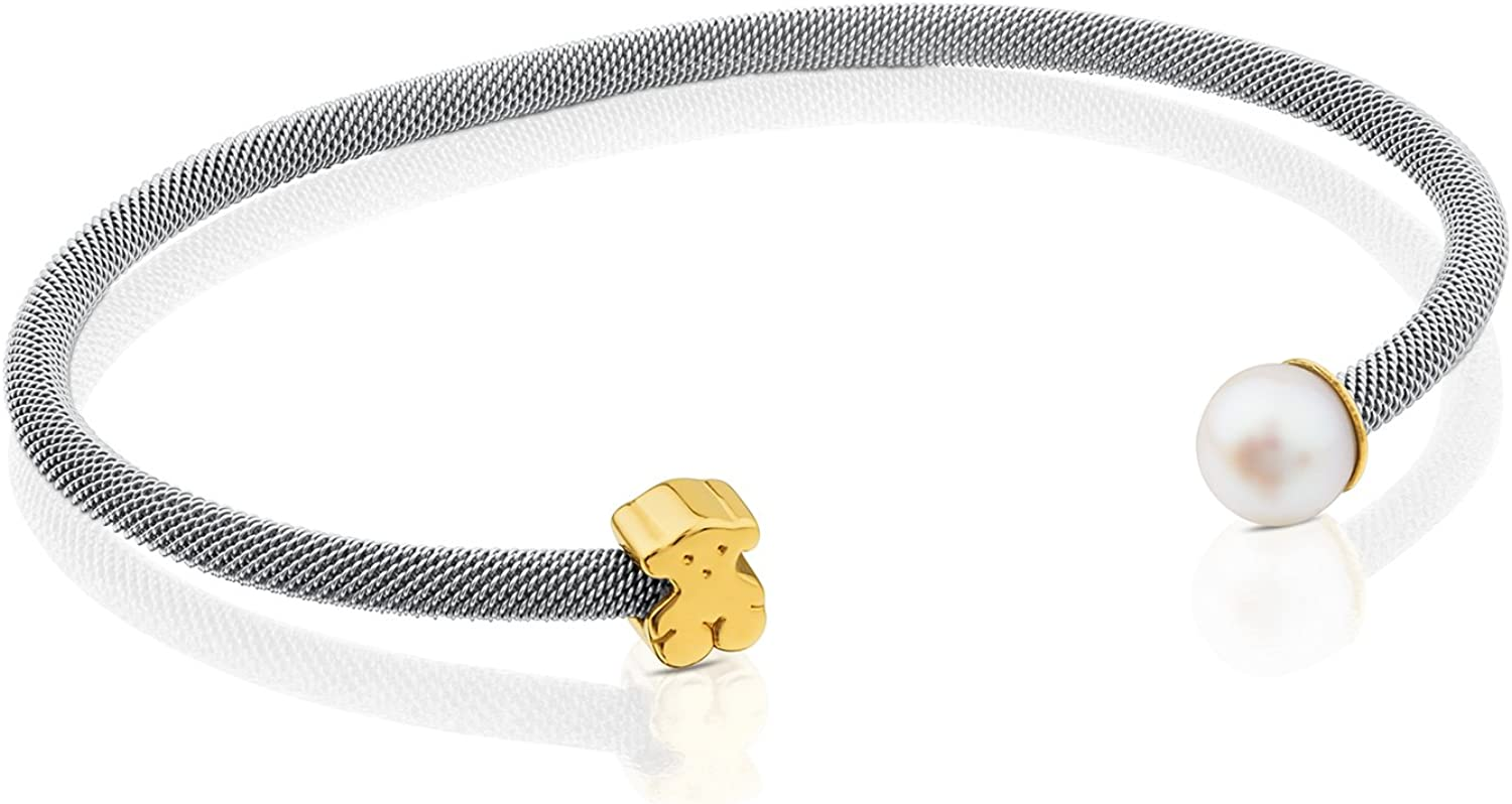 TOUS Icon Mesh Bangle in Steel and 18kt Yellow Gold with 0.65-0.7 cm Pearl.