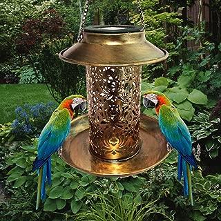 YOTHG Solar Bird Feeder, Solar Lighted Bird Feeder Hanging Lantern, Bird Feeder Lantern for Outdoor Hanging LED Garden Light Lamp Lantern Waterproof (Antique Brass)