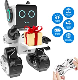 RC Robot Toy, Interactive and Programmable Toy Robot with Built-in Coin Bank, Smart Educational Robot Sound and Touch Control Speaking Singing Dancing, Wireless Intelligent Toys for Kids (White)
