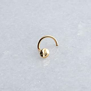Nose Nostril Screw Hammered 14K Gold Filled Hoop Cartilage Shiny Piercing Stud Left Side