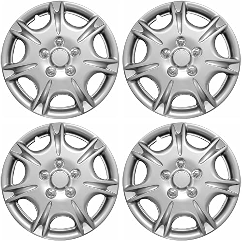 discount 15 inch Hubcaps Best discount for 2000-2001 Nissan Maxima - (Set of 4) Wheel Covers 15in Hub Caps Silver outlet sale Rim Cover - Car Accessories for 15 inch Wheels - Snap On Hubcap, Auto Tire Replacement Exterior Cap outlet sale