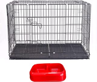 Metreno Foldable Dog Puppy Cage, Crate, Kennel, Pet House for Dogs/Cats,Feeder Bowl for Dogs,Dog Cage with Feeder Box(17 *...