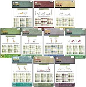 merka Workout Posters Home Gym 10 Posters Women Fitness Routines & Challenges Thick Plastic Laminated to Help your Workout Routine for your Home Gym and Health Training