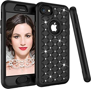 iPhone 8 Case, iPhone 7 Case, Dooge Diamond Studded Bling Rhinestone Shockproof Hybrid Armor Defender Full-body Rugged High Impact Protective Cover for Apple iPhone 7/8 - Black