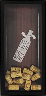 "Space Art Deco 6x14 Black Wine Cork Shadow Box - Wine Cork Holder/Collector - Wall Mounting or Free Standing - ""Keep Calm and Drink Wine"" (6x14, Black)"