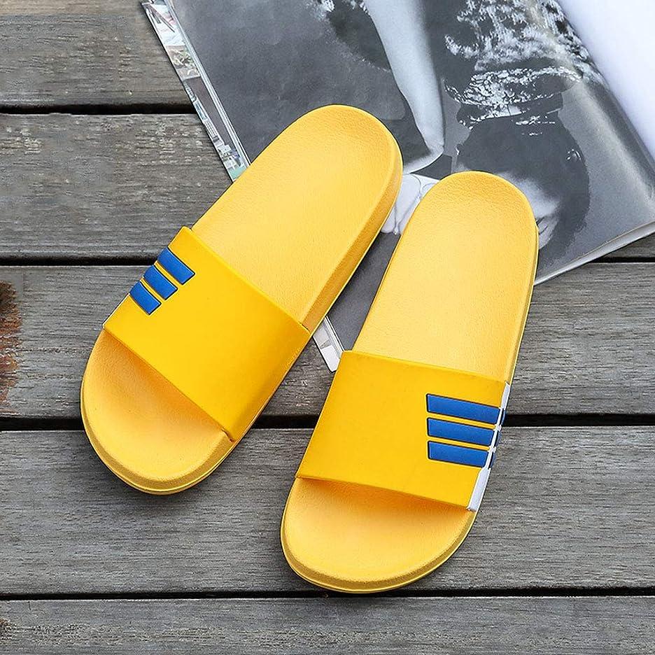 無限対話確認Zhiling スリッパ- 夏のスリッパ男性の縞模様のサンダルファッション滑り止め摩耗レディースビーチシューズ韓国のカップルサンダルとスリッパ (色 : イエロー いえろ゜, サイズ さいず : 38-39code)