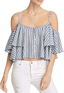 Womens Cold Shoulder Cropped Tank Top