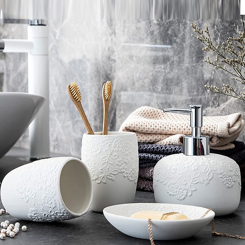 AKEFG 4 Piece Ceramics Bathroom Includes Ranking TOP12 Ranking TOP8 Set Soap D Accessories