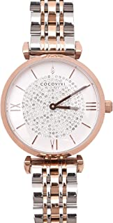 COCOVIVI Women's Wrist Watch Stainless Steel Daily Water Resistant Japanese Quartz Ladies Rose Gold Dress Watches with Mesh Band Leather Strap Analog Classic Petite Casual