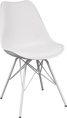 Silla de cocina o comedor ANDY Hard, patas de metal y asiento polipropileno (Blanco