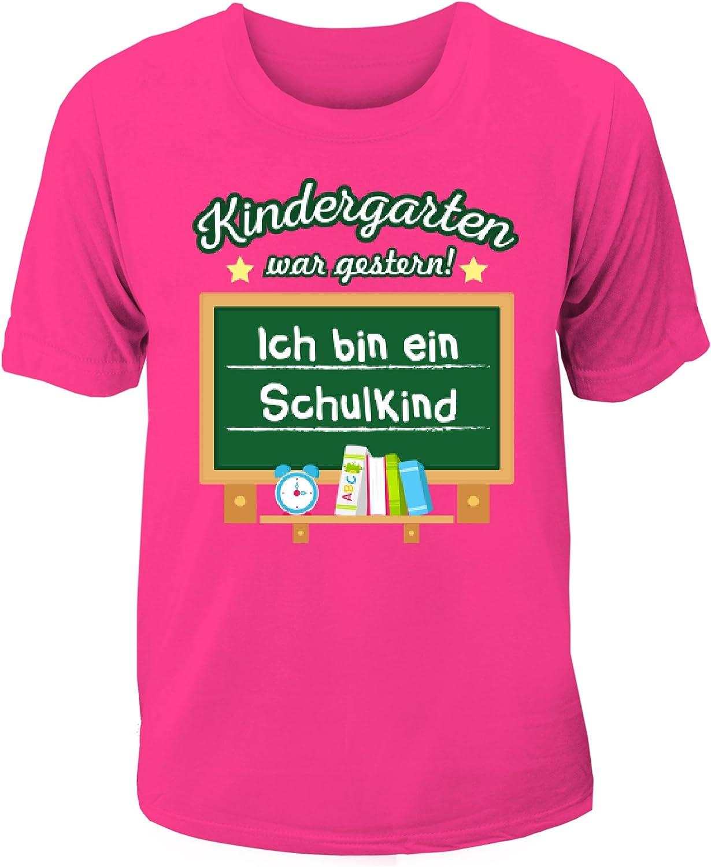 XS 120-140 cm oder S 152-160 cm Sicherheitsweste Neongelb und orange Neon Coole-Fun-T-Shirts Ich Bin 1 Kinder Warnweste zur Einschulung Schulanfang ABC Sch/ützen Gr Klasse