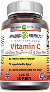 Amazing Formulas Vitamin C (Ascorbic Acid) - 1000mg with Rose Hips & Citrus Bioflavonoids -Promotes Immune Function -Suppo...