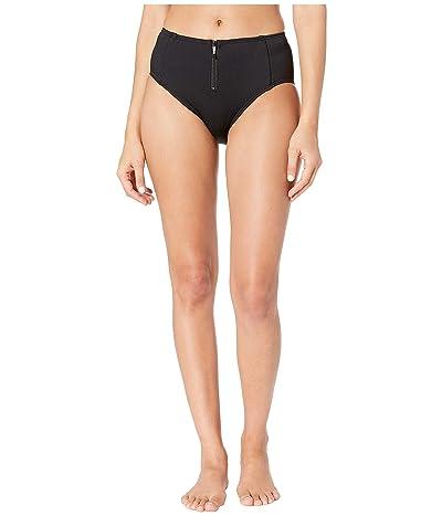 Kate Spade New York Marco Island High-Waisted Bikini Bottoms w/ Bow Zipper Pull (Black) Women