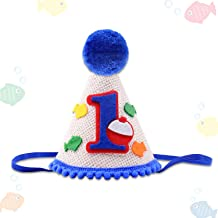 Vansolinne Gone Fishing Bobber First Birthday Hat Kids Party Outfit Decorations- The Big One Little Fisherman O Fish Ally One Cap Baby Boys Cake Smash Milestone Photo Props Supplies