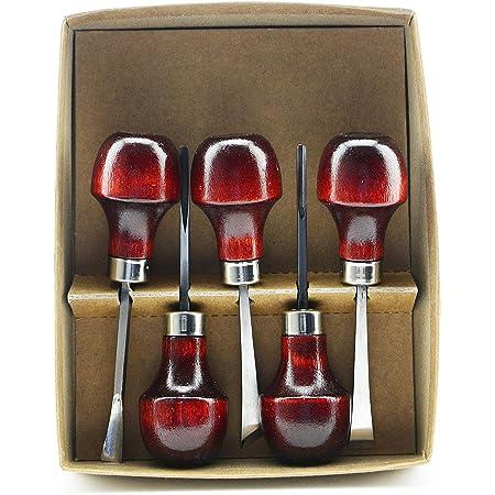 U J Ramelson No. 107 Basic Beginners Wood Carving Tools set of 5. Gouge, V & U, Skew & Bent Chisel. USA