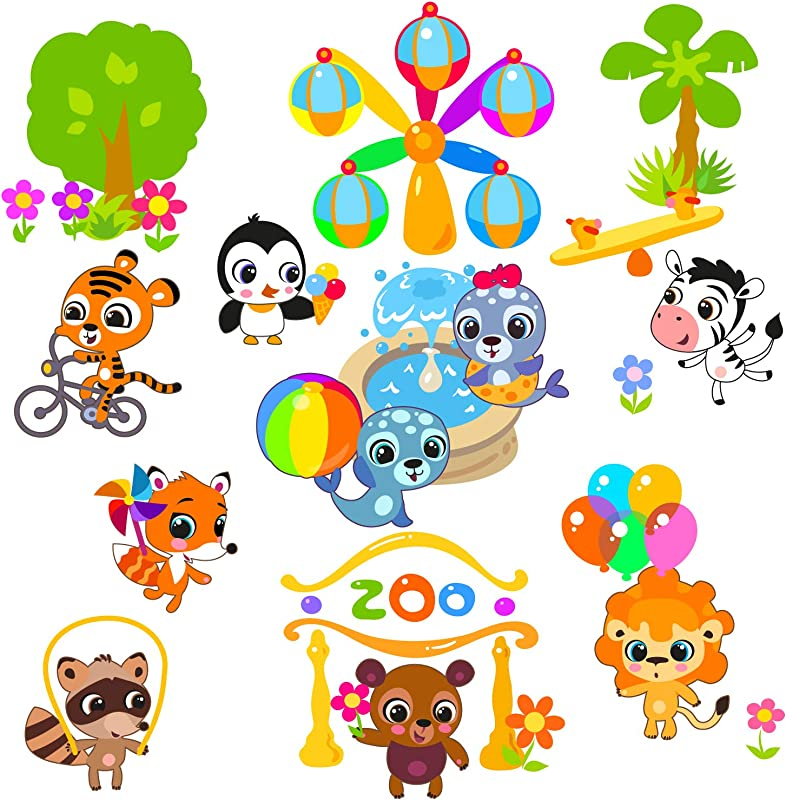 Wall Decals For Kids Rooms Happy Zoo Animals Wall Stickers Peel And Stick Removable Vinyl Room Decor Nursery Wall Decal