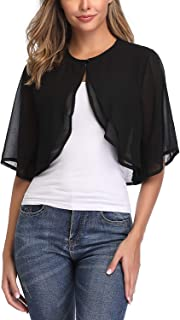 Women's Short Sleeve Shrug Sheer Cropped Cardigan Chiffon Bolero Jacket