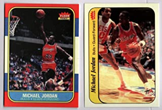 Michael Jordan Chicago Bulls 1986-87 Fleer Rookie RC Pair REPRINT #57 & #8