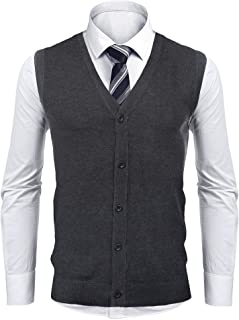 Aibrou Men's Gilet V-Neck Sleeveless Vest Knitwear Classic Gentleman Cardigans Knitted Waistcoat Sweater Tank Tops with Bu...