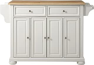 Crosley Furniture Alexandria Kitchen Island with Natural Wood Top, White