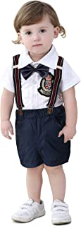 Anmino Baby Boys' Shorts Sets Toddler Gentleman Outfit Suit Bowtie Shirt Suspender Bib Shorts