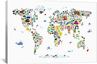 iCanvasART Animal Map of The World by Michael Tompsett Canvas Art Print, 26 by 18-Inch