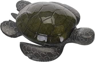 SS Handcrafted Art Colored Turtle Hinged Top Glossy Green 5 inch Carved Marble Jewelry Box