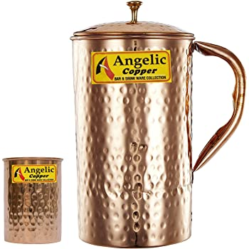 Angelic Copper Handmade Copper Jug with Glass, Brown