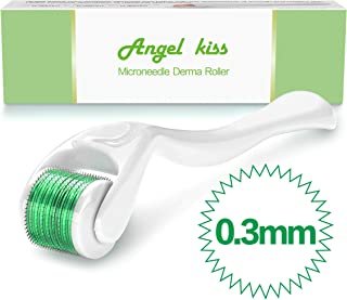 Microneedle Derma Roller for Face - Angel Kiss Titanium Microneedling Dermaroller Cosmetic Needling Instrument,Microdermabrasion Facial Roller .3mm