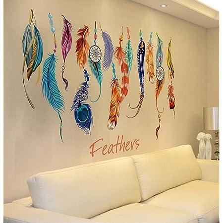 50cmx70cm Dream Catcher Peacock Feather Wall Sticker Art Decal Mural Gifts#jwz